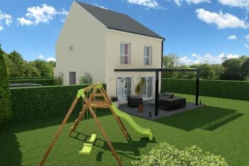 Modele MY6 maison 5 pieces vue 3quarts cote avant